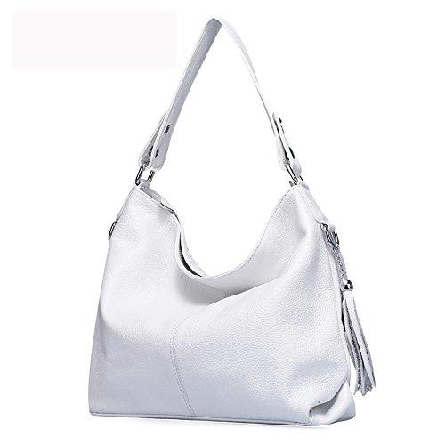 2018 New Fashion Soft Real Genuine Leather Tassel Women's Handbag Ladies Shoulder Tote Messenger Bag Purse Satchel Black White (White) ()