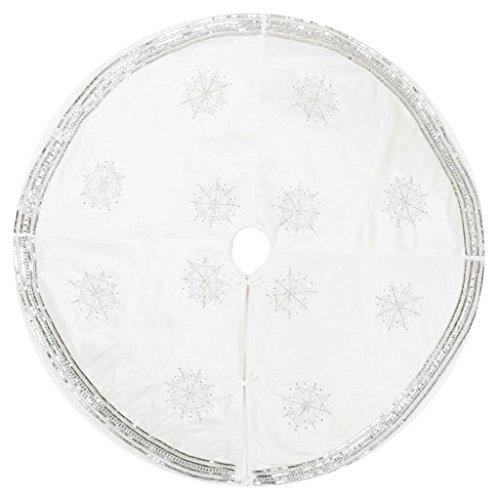 Vickerman 504697 - 60'' Banded Snowflake Tree Skirt (QTX17011) Christmas Tree Skirts by Vickerman