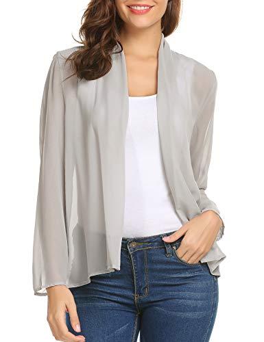 (Pinspark Sheer Cardigan Women Chiffon Long Sleeve Open Front Lightweight Casual Kimono Cover Up (Grey, Medium))