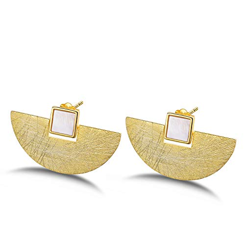 Lotus Fun S925 Sterling Silver Stud Earrings Minimalism Fan-Shaped Earring Stud with Shell for Women and Girls, Handmade Unique Jewelry Gift (A. Gold)