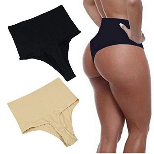 eubell Body Shaper High Waist Tummy Control Butt Lifter Panty Slim T-String Briefs Black