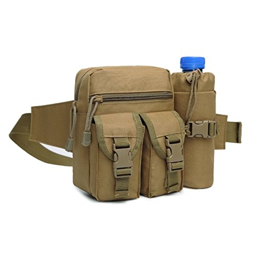 DOUN Tactical Waist Pack With Water Bottle Holder, Waterproof Lining Military Waist Bag For Cycling,Camping,Climbing,Hiking