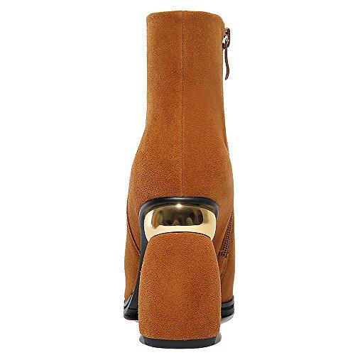 Cuoio Comfort Caviglia Punta Stivaletti Squisito Donne Di Nove Camoscio Mano Quadrata Classico Sette Alti Marrone A Tacco 600r5qz