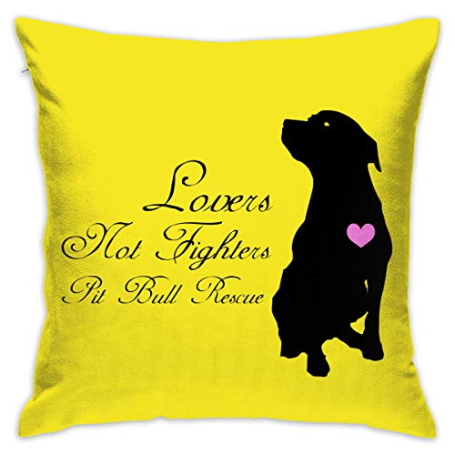 Karen Felix Throw Pillow Covers Lovers Not Fighters Pit Bull Rescue Decorative Cushion Case for Sofa Bedroom Car 18 X 18 Inch 45 X 45 cm]()