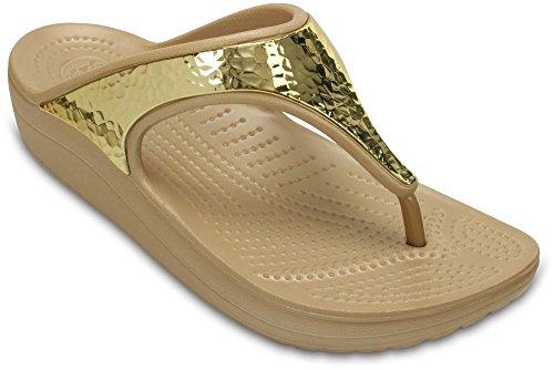 Crocs Women's Sloane Embellished Flip Gold Metallic Sandal - (Metallic Croc)