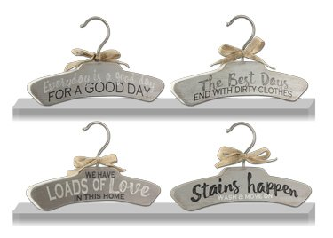 Assorted Wood Laundry Wall Hook Signs - Set of 4