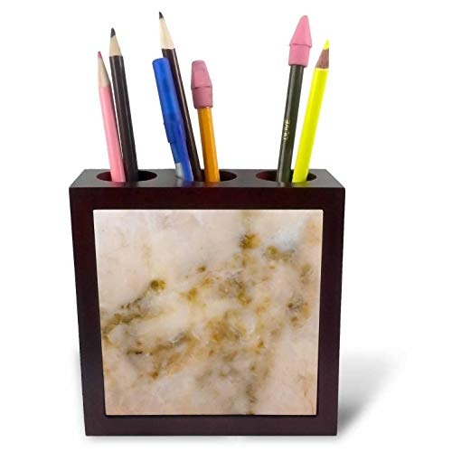 Mahogany Finish Beige Marble - 3dRose Alexis Photography - Texture Stone - Image of Marble Stone Texture of Beige Color. Pink and Brown Spots - 5 inch Tile Pen Holder (ph_311708_1)