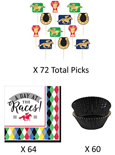 Derby Day Preakness Belmont Stakes Cupcake Liners, Toppers, and Napkins - Classic Horse Racing Picks with Matching Napkins and Baking Liners - Enough for 60 -