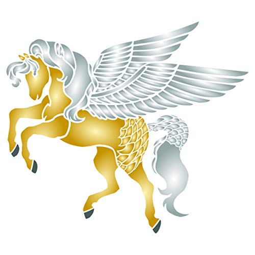"""Pegasus Stencil - (size 16""""w x 14""""h) Reusable Wall Stencils for Painting - Best Quality Flying Horse Ideas - Use on Walls, Floors, Fabrics, Glass, Wood, Terracotta, and More..."""