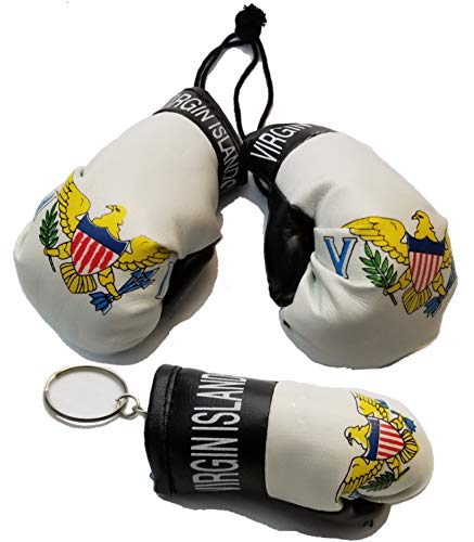 BUNFIREs 2 Pcs US Virgin Islands USVI Flag Mini Banner Boxing Gloves Rear View Mirror & Key Chain VI Country Flag Logo