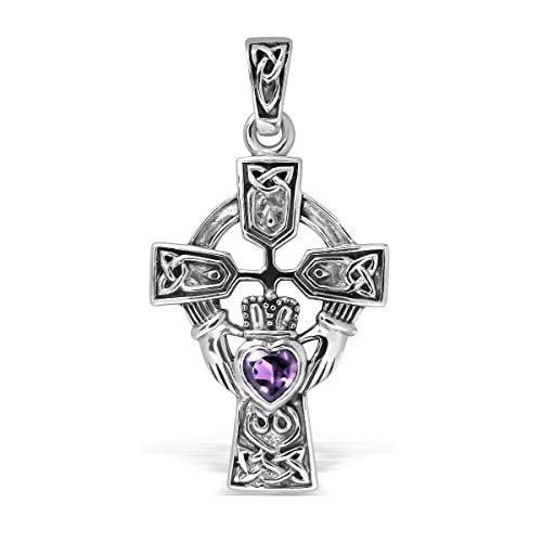 WithLoveSilver Sterling Silver 925 Celtic Cross and Claddagh Natural Amethyst Heart Pendant