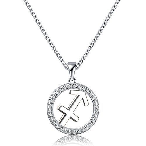 - Zodiac Pendant Necklace Sagitarius Constellation Charm Womens Platinum Plated 925 Sterling Silver Box Chain, 18