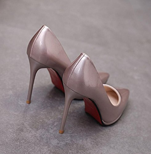 KHSKX-Beige Sexy High-Heel Shoes Autumn New Tip Light Is Solid Color Women Shoes Waterproof Is Fine With The High-Heel Shoes 38 LOqUse
