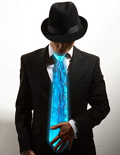 Light Up Neckties Novelty 7 Colors LED Light Up Tie Men Women LED Costumes for Halloween Music Dance Party(Single Piece) White ()