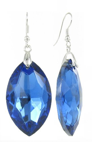 Oval Crystal Logo Earring - Royal Blue Oval Lucite Gem Crystal Fish Hook Earrings