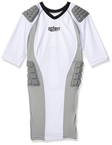 Schutt Youth Protech Football Protective Shirt, White/Grey, Small (Schutt Football Youth Rib)