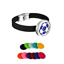 HooAMI Soccer Ball Aromatherapy Essential Oil Diffuser Locket Bracelet Silicone Chain