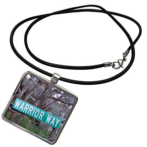 3dRose Jos Fauxtographee- Warrior Way - A Sign That says Warrior Way in Green Near a Forest - Necklace with Rectangle Pendant (ncl_319014_1)
