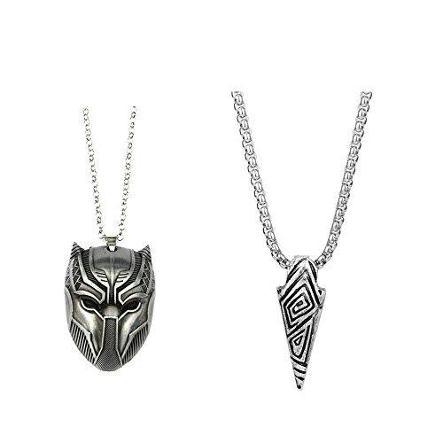 Jecool 2pcs Black Panther Necklace Wakanda King Cosplay Necklace Pendant