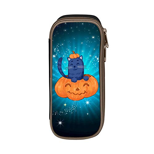 (Kids Halloween Pumpkin & Cat Large Capacity Soft Pen Bag with Zipper for Boys and Girls)