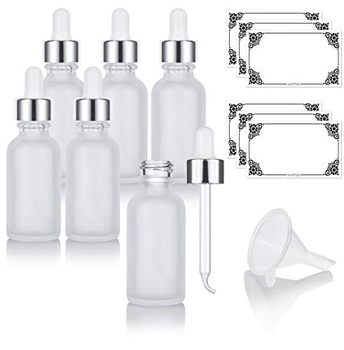 1 oz Frosted Clear Glass Boston Round Bottle with Silver Metal and Glass Dropper (6 pack) + Funnel and Labels for Essential oils, Aromatherapy, E-liquid, Food grade, BPA free