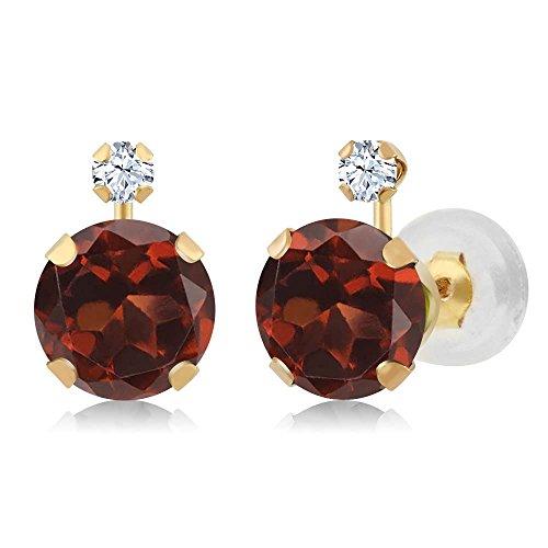 Gem Stone King 2.08 Ct Round Red Garnet White Created Sapphire 14K Yellow Gold Earrings