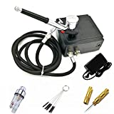 ABEST Portable Dual Action Mini Air Compressor Airbrush Kit for Make up Art