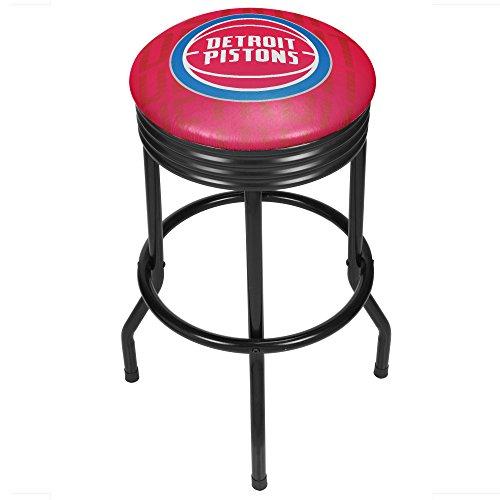Trademark Gameroom NBA1006-DP3 NBA Black Ribbed bar Stool - City - Detroit Pistons