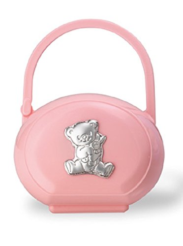 (Silver Touch USA Pacifier Case with Sterling Silver Bear, Pink)