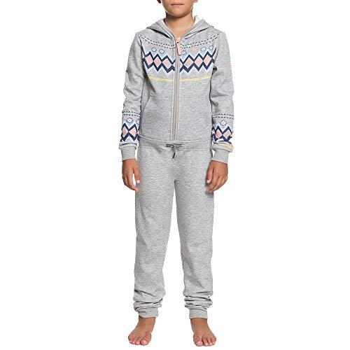 ROXY Girls' Little Cozy Up Hooded Fleece One Piece, Warm Heather Grey, 12/L (Roxy Hooded Jacket)