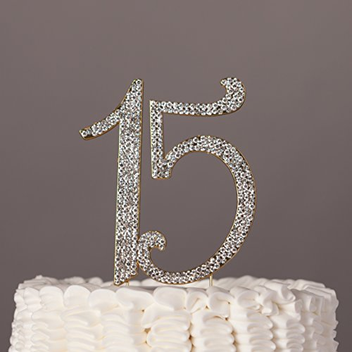 Ella Celebration 15 Cake Topper Gold Quinceañera 15th Birthday Crystal Rhinestone Metal Party Supplies Decoration (Gold) (Quinceanera Celebration)