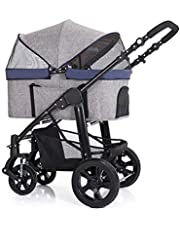 Large Pet Stroller High-end Dog Stroller Rescue Dog Four-Wheeled Outbound Supplies Box (Color : Gray)