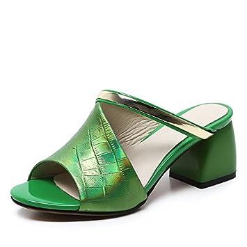 ZCJB Leder Hausschuhe Frau Sommermode Oberbekleidung Sandalen High Heel Starke Ferse Schuhe ( Farbe : Mint green...