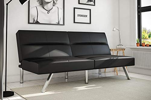 DHP Studio Convertible Futon Couch, Black Faux Leather