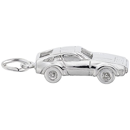 Car Charm In 14k White Gold, Charms for Bracelets and Necklaces