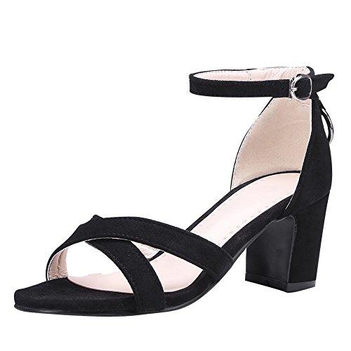 Mee Shoes Damen Blockabsatz Open Toe Ankle Strap Sandalen Schwarz