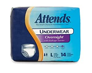 Attends Discreet Incontinence Care Day/Night Extended Wear Protective Underwear with DermaDry Technology for Adults, Large, Unisex ,  14 Count (Pack of 4) (Packaging may vary)
