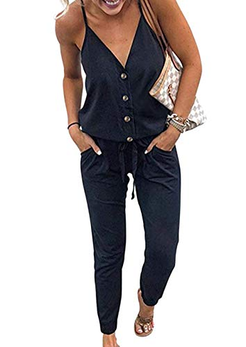 - PRETTYGARDEN Women's Spaghetti Strap V Neck Button Drawstring Summer Stretchy Long Romper Jumpsuit with Pockets (Black, X-Large)