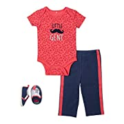 Baby Gear 3Pc Newborn Girl Owl Short Sleeve Bodysuit, Pant & Shoes Set 3-6 M
