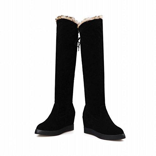 Carolbar Womens Fashion Faux Fur Charm Lace Up Wedge Tacco Dress Inverno Neve Stivali Neri