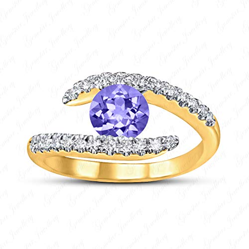 Gemstar Jewellery 925 Solid Silver 14k Yellow Gold Finish Purple Tanzanite Engagement Promise Ring (Solid Gold Cz Engagement Ring)