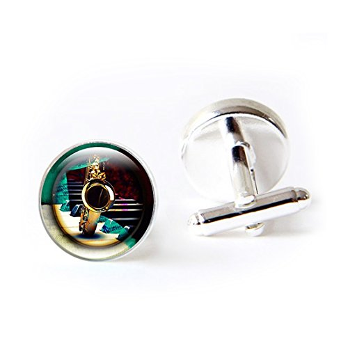 Mens Classy Cufflinks Saxophone Pian Musical Instruments Deluxe Wedding Business Cuff Links Movement Shirts Studs Button from LEO BON