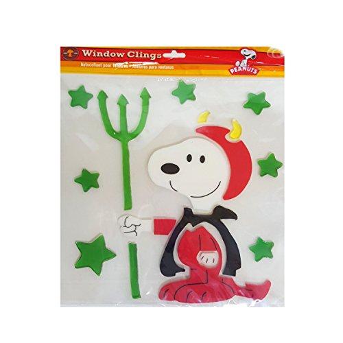 Product Works Peanuts Spooky Jelz Snoopy Dressed as Devil Halloween Gel Window Cling Set of 8