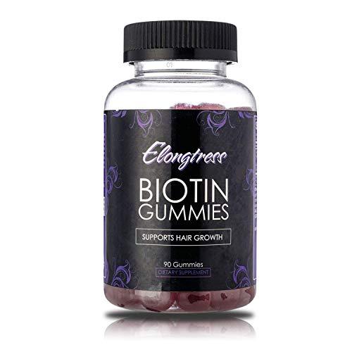 Biotin gummies 5000mcg per serving - 90 gummies per bottle - Biotin helps hair growth - Grow longer hair with biotin vitamins by Elongtress