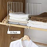 Kosiehouse Metal Wire Closet Shelf Organizer Divider, Separator for Storage in Bedroom, Kitchen, Bathroom and Office Shelves, Easy Installation, Set of 8, White