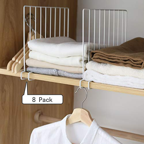 (Kosiehouse Shelf Divider for Wood Closet, Sturdy Organizer Separator for Storage in Bedroom, Kitchen, Bathroom and Office Shelves, Easy Installation, Set of 8)