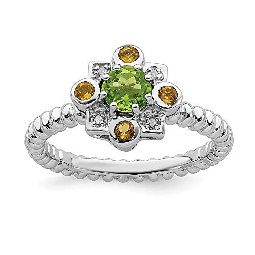 - 925 Sterling Silver Green Peridot Yellow Citrine Diamond Band Ring Size 6.00 Stackable Birthstone Gemstone August November Multiple Fancy Fine Jewelry Gifts For Women For Her
