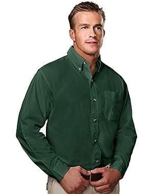 TRM Men's 100% Cotton Regency Soft Twill Pleated Woven Shirt (8 Colors, XS-6XLT)