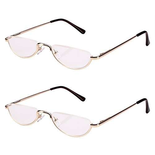 Bestum 2 Pack Reading Glasses for Mens and Womens - Comfortable Metal Frame with Spring Hinge - Pack of 2 Readers (2 Pack Gold, 3.00)