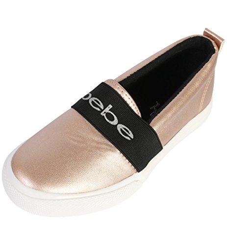 Girl Roses (bebe Girls Slip On Metallic Fashion Sneaker, Rose Gold, 4-5 M US Big Kid')